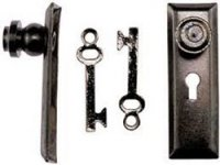 Door Knob w/Key Plate, Pewter