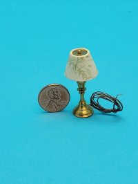 Small Lamp with Grn Leaf Shade