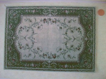 French Green Rug w/Faux Bamboo