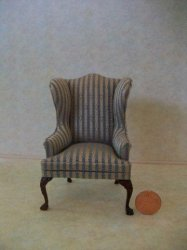 Wing Chair Federal Blue/Taupe