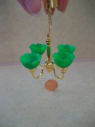 4-Arm Green Shade Chandelier