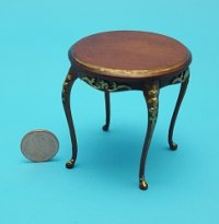 Round Side Table with Gold Trim
