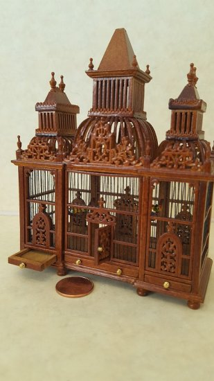 Vict. Birdcage w/Birds Walnut - Click Image to Close