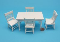 White Rect. Table w/4 Chairs