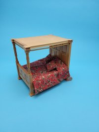 Four Poster Bed Oak Red Fabric