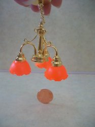 3-Arm Orange Shade Candelier