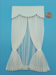 White Lace with Valance Curtain