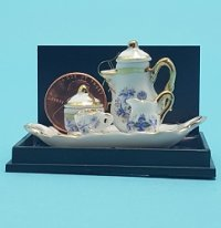 Blue Onion Coffee Set on Tray