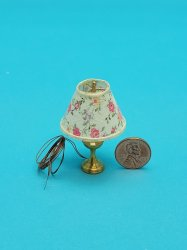 Table Lamp with Pk Floral Shade