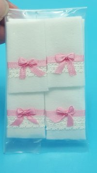 White Towels w/Pink Trim