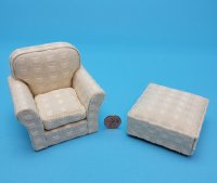 Beige Chair and Ottoman