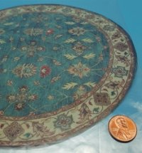 Round Large Teal/Cream Border R
