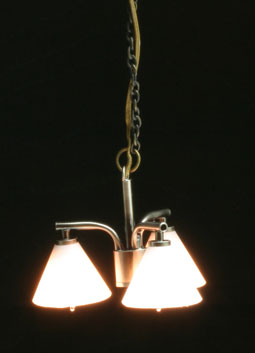 Modern 3-down Pewter Chandelier