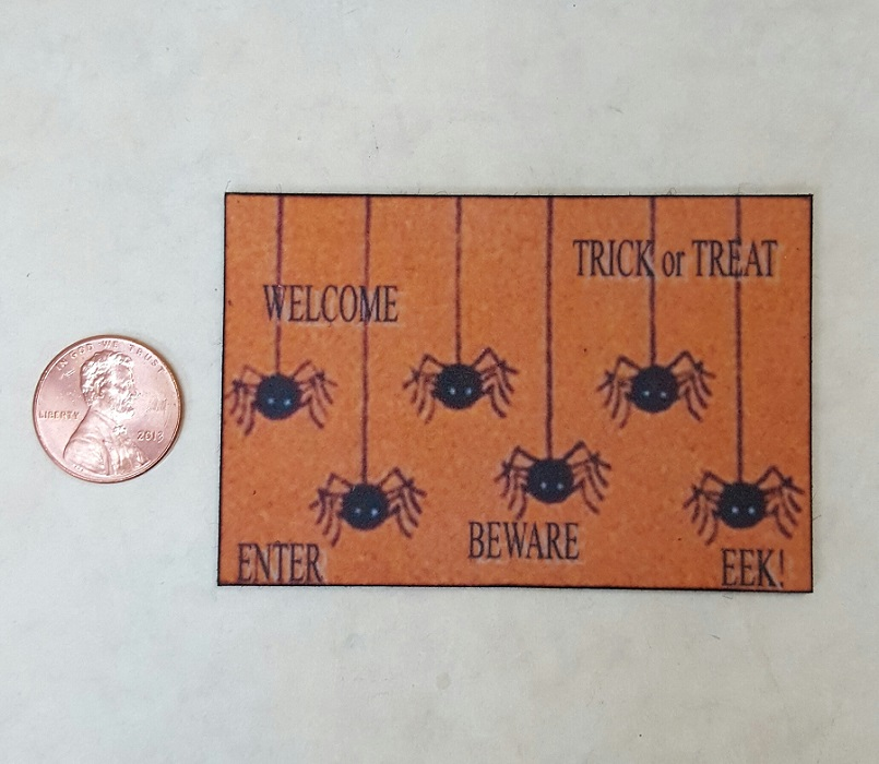 Welcome Mat - Spiders on Orange