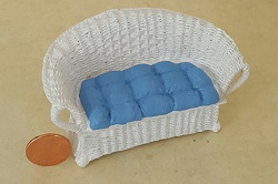 Wicker Settee w/Blue Cushion