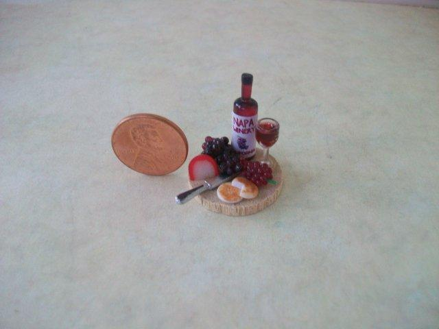 Wine Set on Round Wood Board