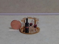 Red Wine Set on Brass Holder