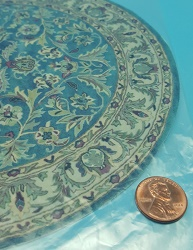 Round Blue/Grn Leaf Rug Large