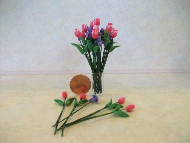 Tulips/Iris in Square Vase