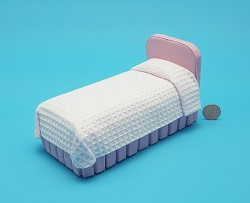 Jr Bed in Pink Waffle Fabric