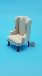 Chair, Mahogany w/Beige Fabric