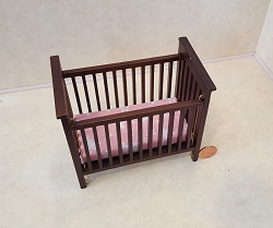 Slatted Nursery Crib Walnut