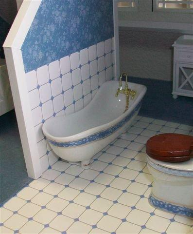 Matching tile on wall with floor tile